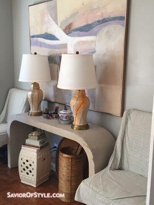 SOLD - Pair Vintage Glazed Swirl Ginger Jar Lamps