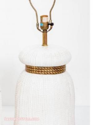 SOLD Vintage Large Ceramic Tassel Lamp