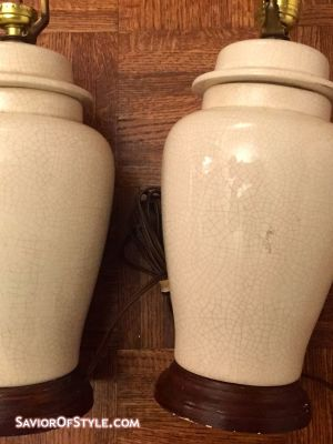 SOLD - Pair of Vintage Small Crackled Cream Ginger Jar Lamps