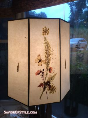 SOLD - Vintage Fiberglass with Pressed Flowers Lamp Shade