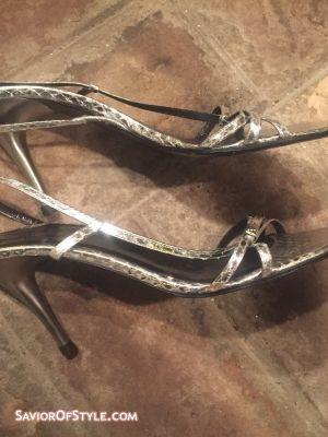 Emporio Armani Silver Lizard Skin Evening High Heels