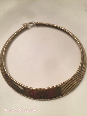 Vintage Gold Stretch Omega Snake  Choker Collar Necklace