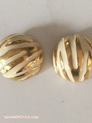 Vintage 1980s Tiger Patterned Gold Metal and Cream Enamel Clip-On Earrings