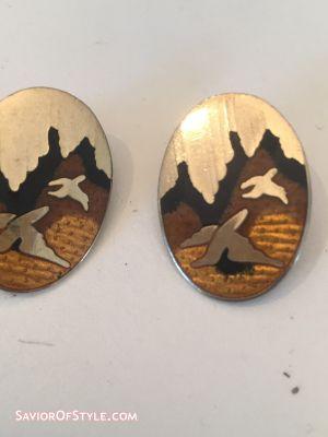 Vintage Boho Chic Cloisonne Enamel Bird Clip-On Earrings