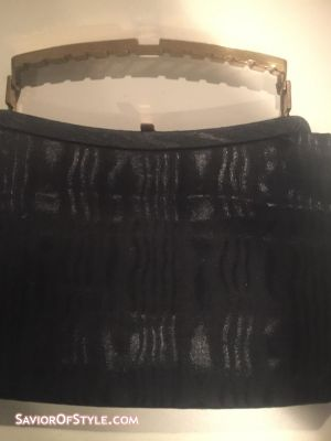 Vintage Black File Fabric and Gold Handle Ande Bag
