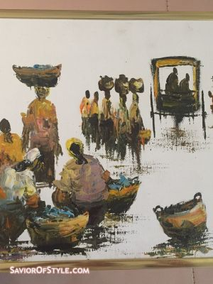 SOLD - Vintage Painting of African Market by Ross, c. 1986