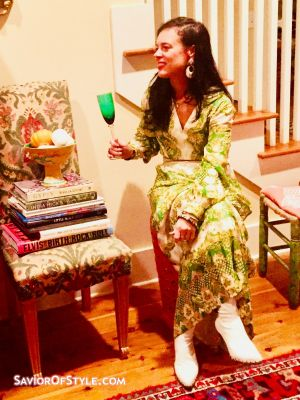 Vintage 1960s Nat Kaplan for Saks Fifth Ave Green and Gold Brocade Maxi Dress