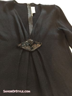 Vintage ST. JOHN by MARIE GRAY Black Santana Cocktail Dress with Sequin Detail