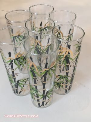 SOLD - Set of 6 Vintage Cocktail Highball Glasses with Bamboo Motif by Federal Glass Co.