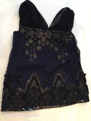 Navy Top with Black Sequins, Black Faux Leather, Tulle and other Embellishments