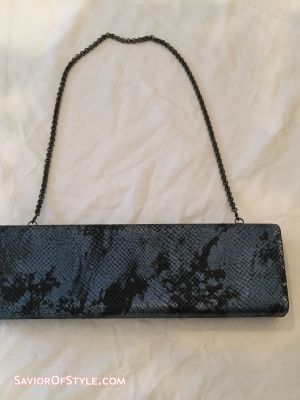 Mary Norton Blue Snakeskin Clutch with Chain