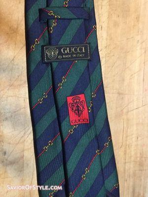Gucci Green and Navy Horsebit Stripe Silk Tie