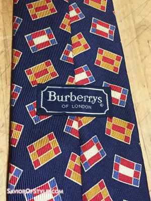 Vintage Burberrys of London Silk Navy with Red, Blue and Yellow Flags Tie