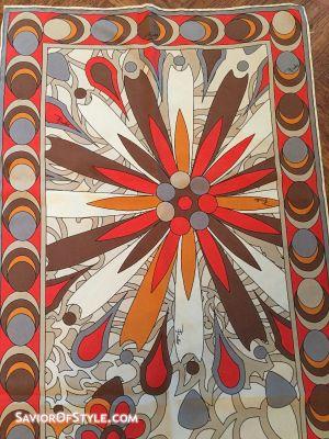 Vintage Emilio Pucci Red, Gray, Brown, Orange, Taupe, Cream Silk Scarf