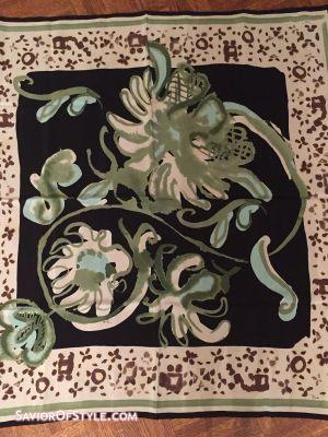 Vintage Emilio Pucci Black, Cream, Light Blue, Green Silk 34' Scarf