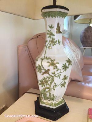 Vintage Hollywood Regency Chinoiserie Green, White, Gold Vase Lamp