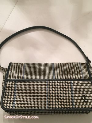 SOLD - Ralph Lauren White, Blue and Black Tartan Plaid Purse