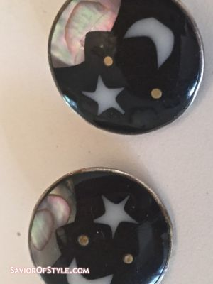 Vintage 1980s Zodiac Navy and Mother of Pearl Clip Earrings