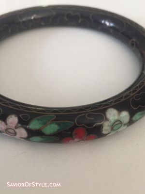 Vintage 1980s Black Cloisonne Bangle