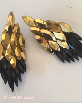 SOLD - Vintage 1980s Diva on the Dance Floor Gold and Black Crystal Earrings
