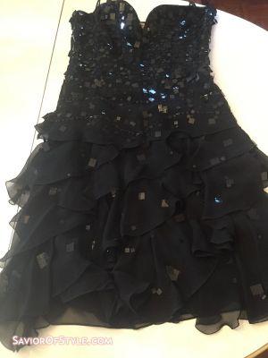 Emporio Armani Black Sequin Chiffon Dress