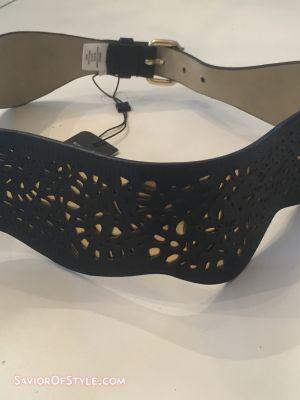 MaxAzria Black Scallop Laser Cut Belt Waist NWT