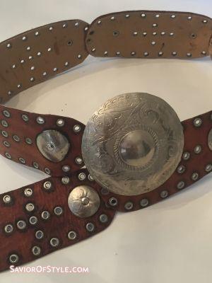 Vintage Moroccan Leather Concho Hip Belt