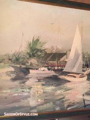 Mid-Century Charles Gruppe Harbor With Lighthouse and Sailboats Oil Painting