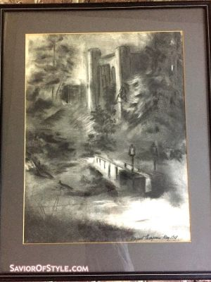 Vintage Original Charcoal Landscape by Margaret Thompson c. 1969