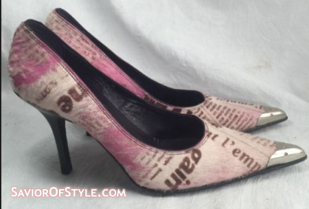 Donald J. Pliner Couture Newspaper Print Cow Hide Pumps