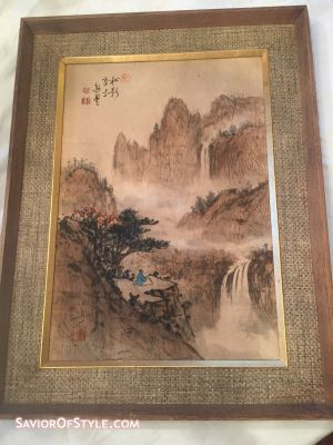 SOLD - Mid-Century Framed Chinese Ink and Watercolor Painting on Silk