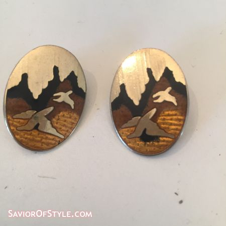 Vintage Boho Chic Cloisonne Enamel Bird Clip-On Earrings