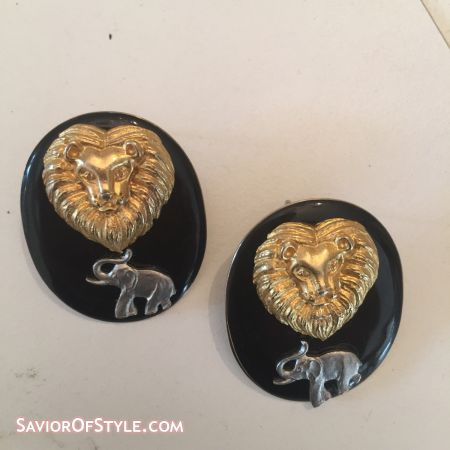 Vintage Black Enamel with Gold Lion and Elephant Earrings
