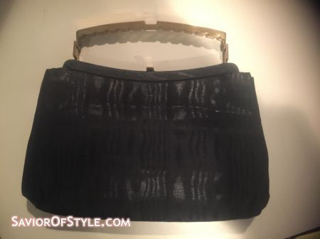 SOLD- Vintage Black File Fabric and Gold Handle Ande Bag