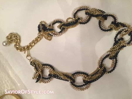 Vintage Gold, Black and Pearl Beaded Chain Belt