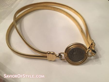 SOLD - Vintage Accessocraft Double Gold Metal Stretch Belt with Coin Buckle