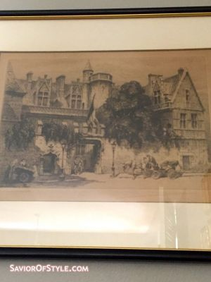 Antique Etching of Musee de Cluny, Paris, c. late 1800s/early 1900s, Signed Charles Pinet