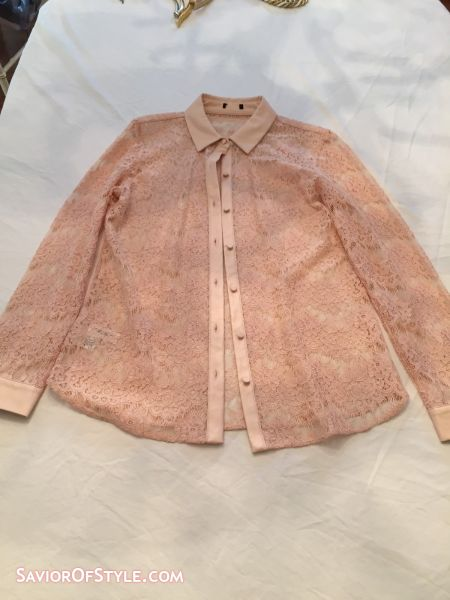 SOLD - Pink Lace with Faux Leather Trim Blouse