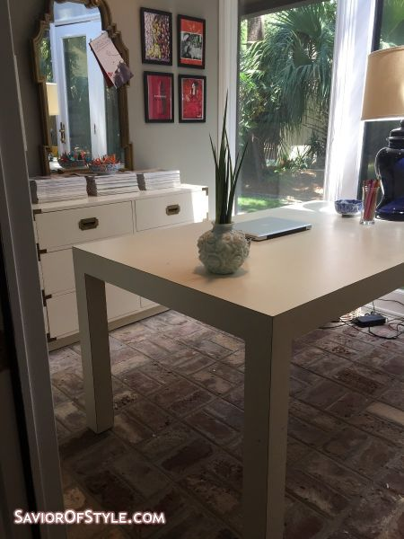 Mid-Century Modern White Parsons Style Table