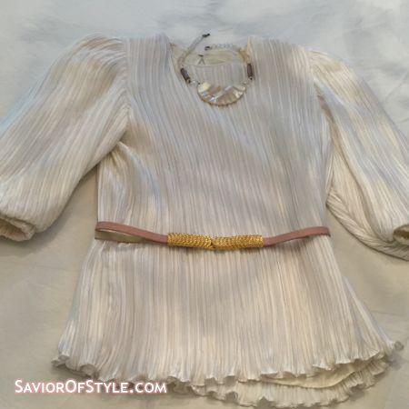 Vintage 1980s George F. Couture Micro Pleat Cream Top