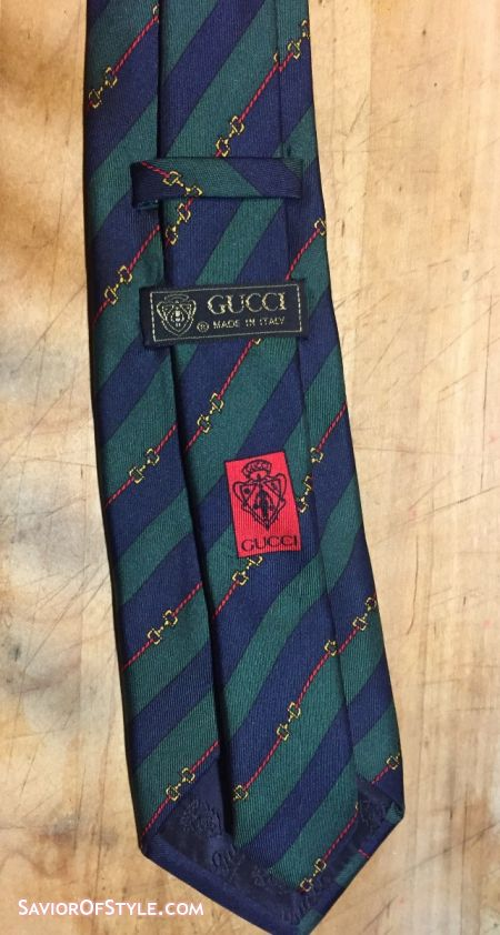 Gucci Green and Navy Horsebit Stripe Silk Tie