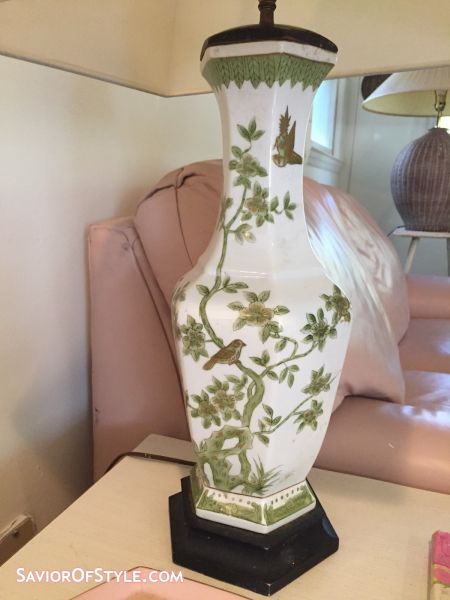 Vintage Hollywood Regency Chinoiserie Green, White, Gold Vase Lamp