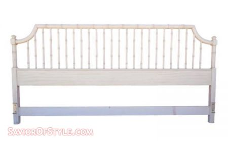Vintage Faux Bamboo Palm Beach Chic High Gloss White King Thomasville Headboard