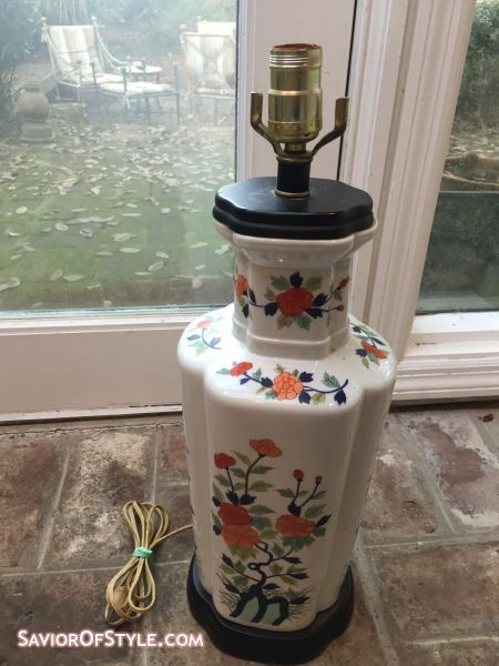 SOLD - Vintage Palm Beach Regency Style Chinoiserie Red, Blue, Green on White Vase Table Lamp
