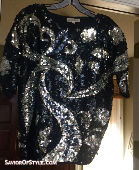 SOLD -Vintage 80s Disco Black, Silver, Pearl and Brown Sequin and Beaded Top